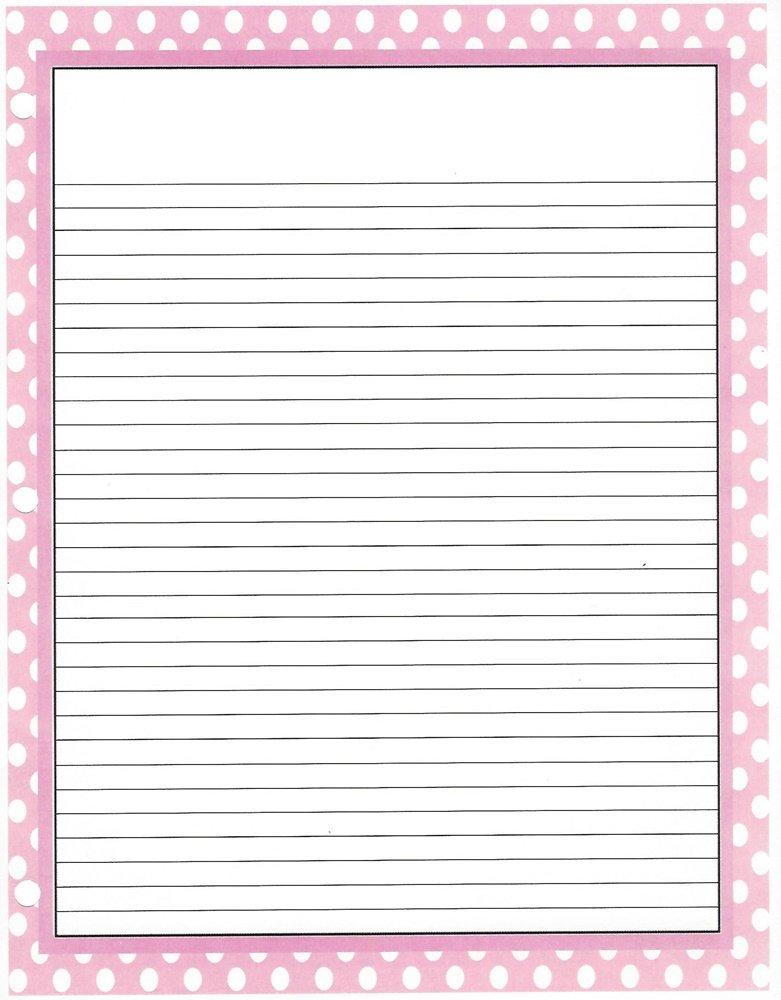 Pink Polka Dot 3 Hole Loose Leaf Paper 50 Sheets