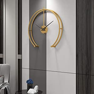 Funtabee 50cm/20in Modern Geometric Oversized Wall Clock for Living Rooms, Gold Minimalist Wall Clock, Silent Non-Ticking, Great for lounges, Kitchens, lofts, cafes, Offices, Hotels (Gold)