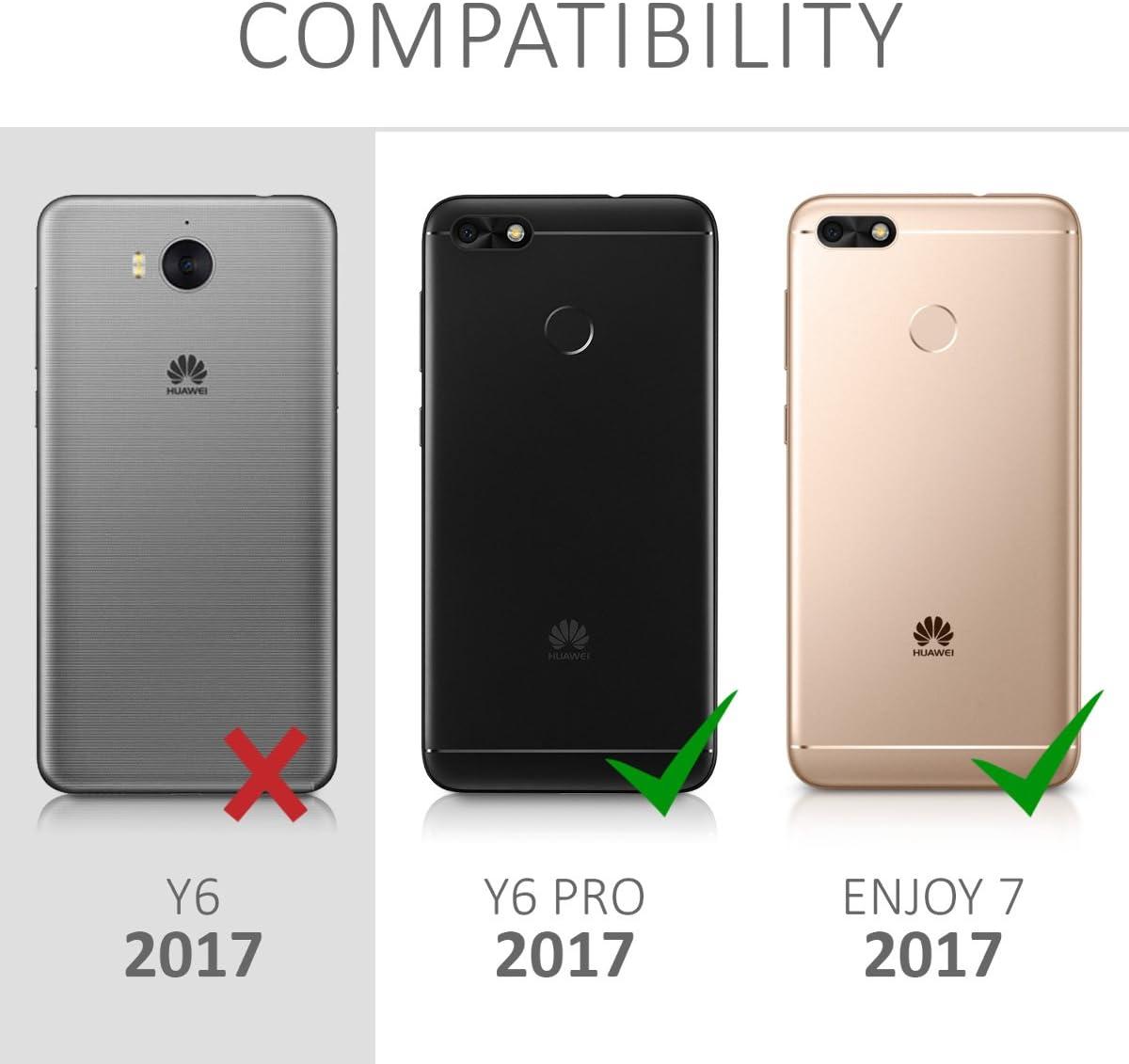 2017 2017 // Enjoy 7 Portefeuille /Étui /à Rabat Simili Cuir pour Huawei Y6 Pro // Enjoy 7 avec Compartiment Cartes Support kwmobile Coque Huawei Y6 Pro
