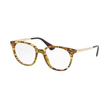 f88e50189cc3 Prada PR 13UV Glasses in Striped Brown Orange PR 13UV KJN1O1 50   Amazon.co.uk  Clothing