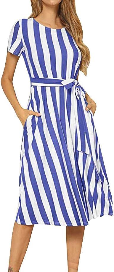 VECDY - Vestido de Verano para Mujer, Elegante Vestido Vertical a ...