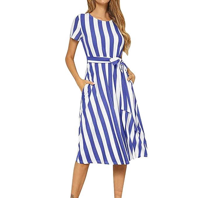 936c2e5c63cb Xinantime Moda Estive Donna Vacanza Vestito Irregolare,Abito a Maniche  Corte con Stampa a Righe