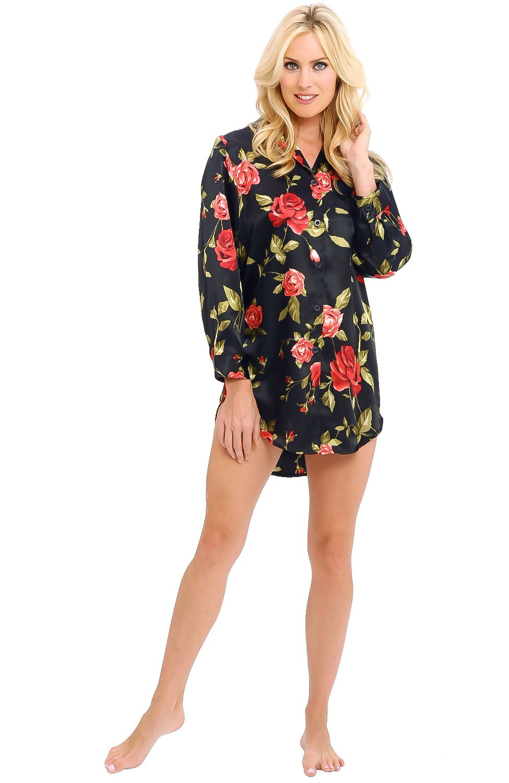 Alexander Del Rossa Womens Satin Nightshirt, Boyfriend Style Sleepshirt with Mask, Small Roses on Black (A0746P36SM)