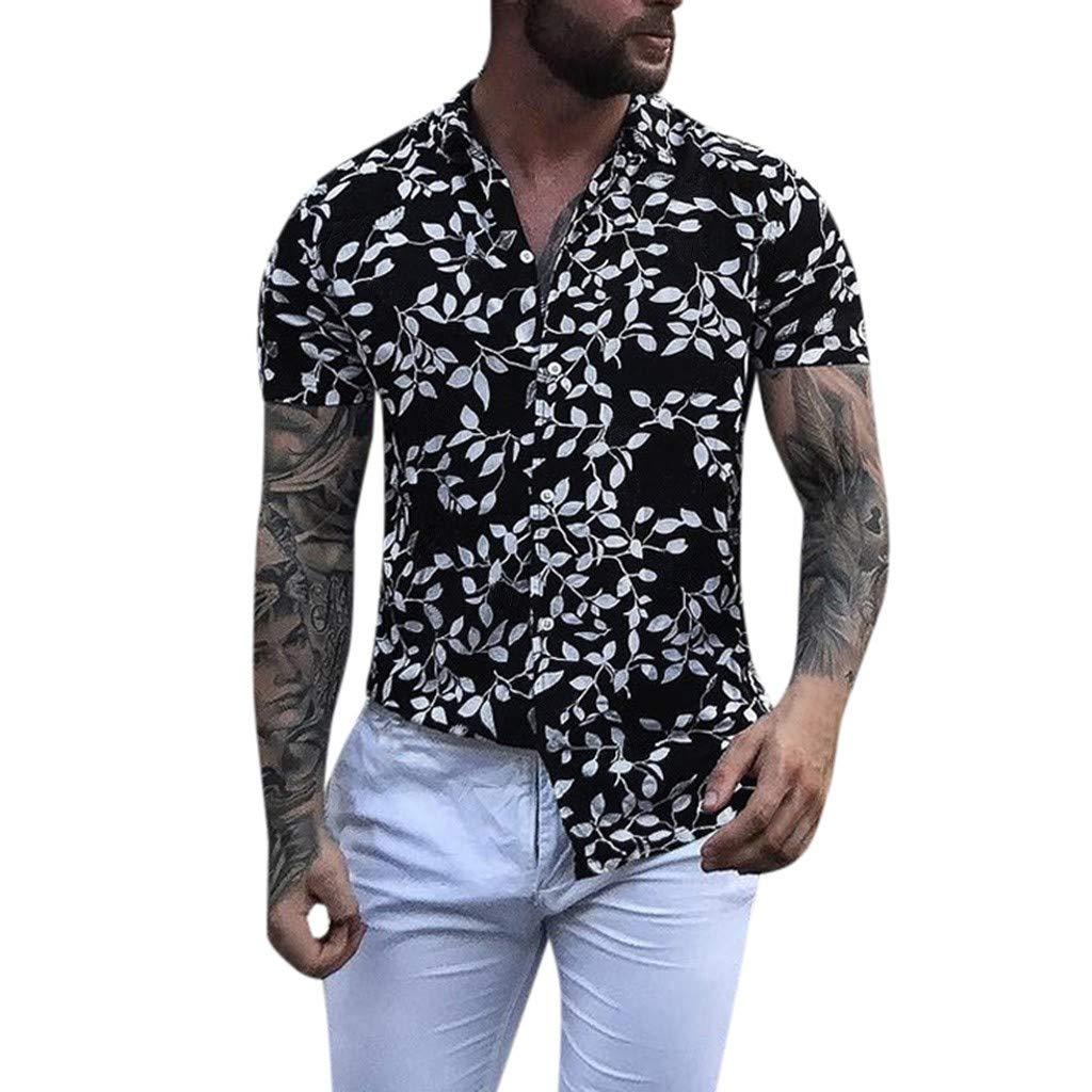 Benficial Men's Baggy Beach Hawaiian Print Short Sleeve Button Retro T Shirts Tops Blouse Black