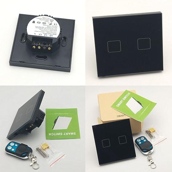 Jadis - Interruptor de luces inteligente para la UE con panel táctil para pared con conexión wifi y por RF, con mando a distancia.