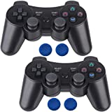 PS3 Controller Wireless 2 Pcs Double Shock Gamepad for Playstation 3, Sixaxis Wireless PS3 Controller with Charging Cable by Bowei (2 Black)