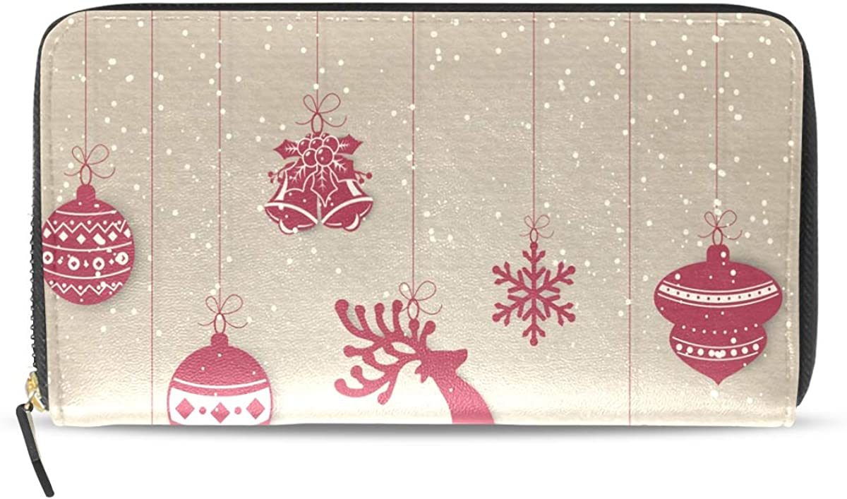 Cute Christmas Deer Snowflake Wallet for Women Leather Zipper Phone Coin Purse