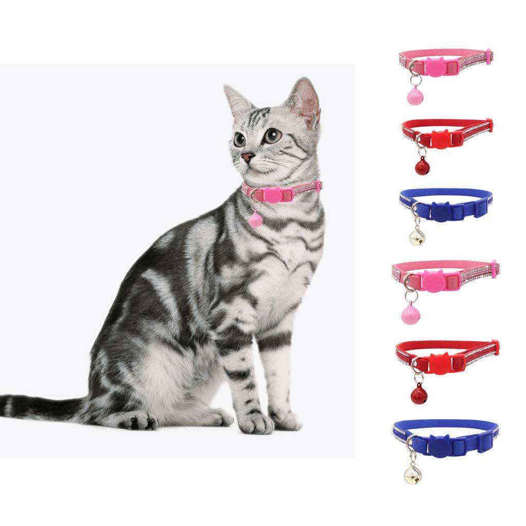 B Blesiya Pet Dog Full Rhinestone Comfy Bling Padded Collar for Small Puppy Cat Breeds Pink S