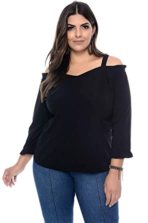 fd5eb31edd Blusa Plus Size Ciganinha com Plissado Preta  Amazon.com.br  Amazon Moda