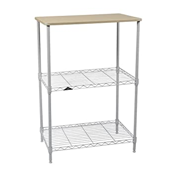 apollo hardware 3 tier white wire shelf with wood on top tier 14x24quot