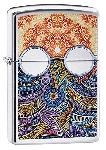 Zippo Boho Pattern Pocket Lighter, High Polish Chrome