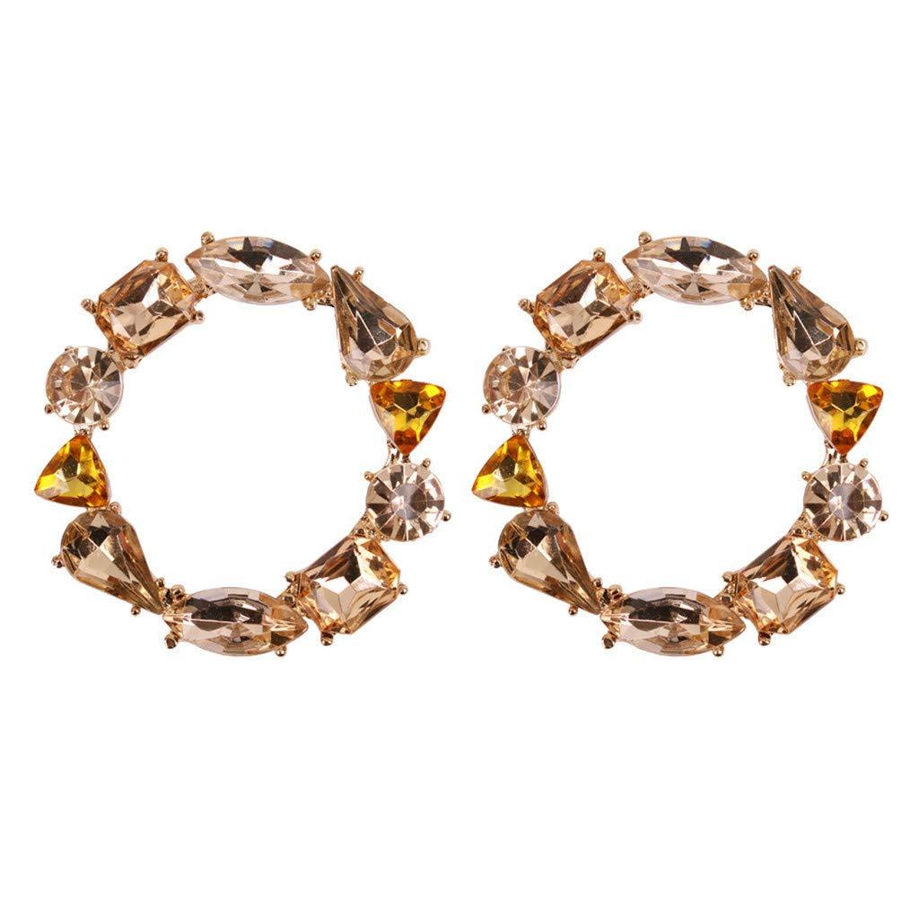 Malltop Shawn Alloy Earrings For Women Girls Small Rhinestone Geometric Pearl Circle Dangle Statement Hoop Stud Jewelry