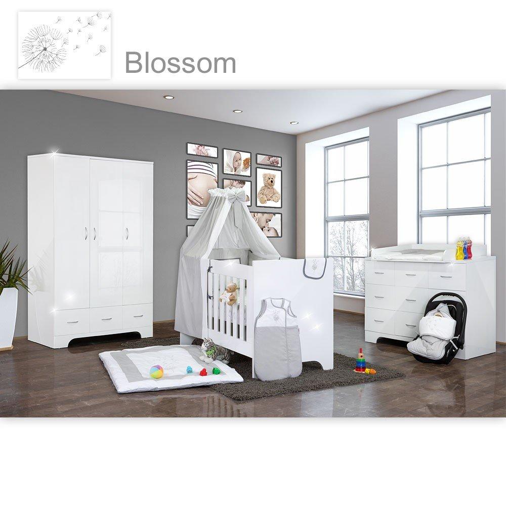 Hochglanz Babyzimmer Memi 19-tlg. mit Textilien von Blossom in Grau