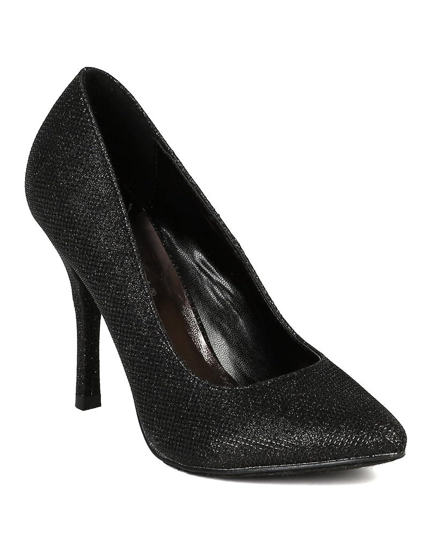 Breckelle's New Women Glitter Almond Toe Stiletto Heel Pump BJ64 - Black B00JS756IC 9 M US