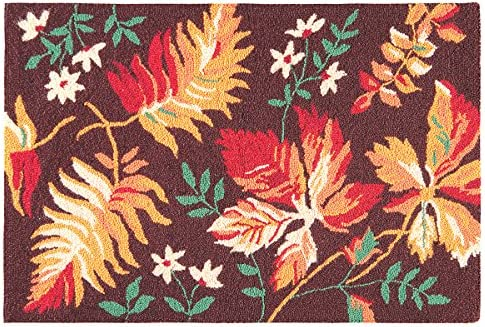 C F Home Adirondacks Fall Leaves Brown and Orange Harvest Botanical Wool Handcrafted Premium Hooked Indoor Area Rug 2'x3' Brown