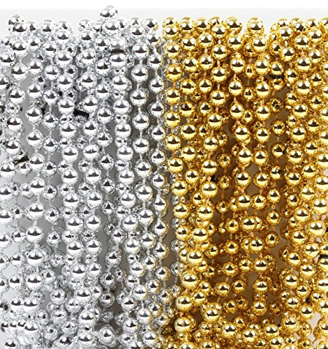 Andaz Press Mardi Gras Plastic Bead Necklaces Duo for New Years Eve Anniversary Party Favors and Table Centerpiece Decorations, Gold and Silver, 24-Pack, 2018 2019 2020