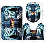 3 Piece Bathroom Mat Set,Outer Space Decor,Space Ship Station Base Control Room with Technology Elements Features Image,Blue Black Orange,Bath Mat,Bathroom Carpet Rug,Non-Slip