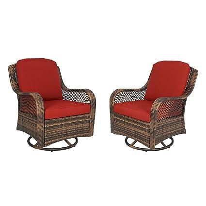 Peachy Amazon Com Ulax Furniture Patio Wicker Swivel Glider Chair Beatyapartments Chair Design Images Beatyapartmentscom