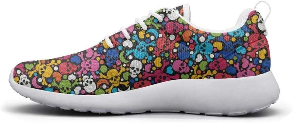Eoyles gy Colorful Skull Crossbones Art Beautiful Women Slip Resistant Lightweight Running Walking Shoes