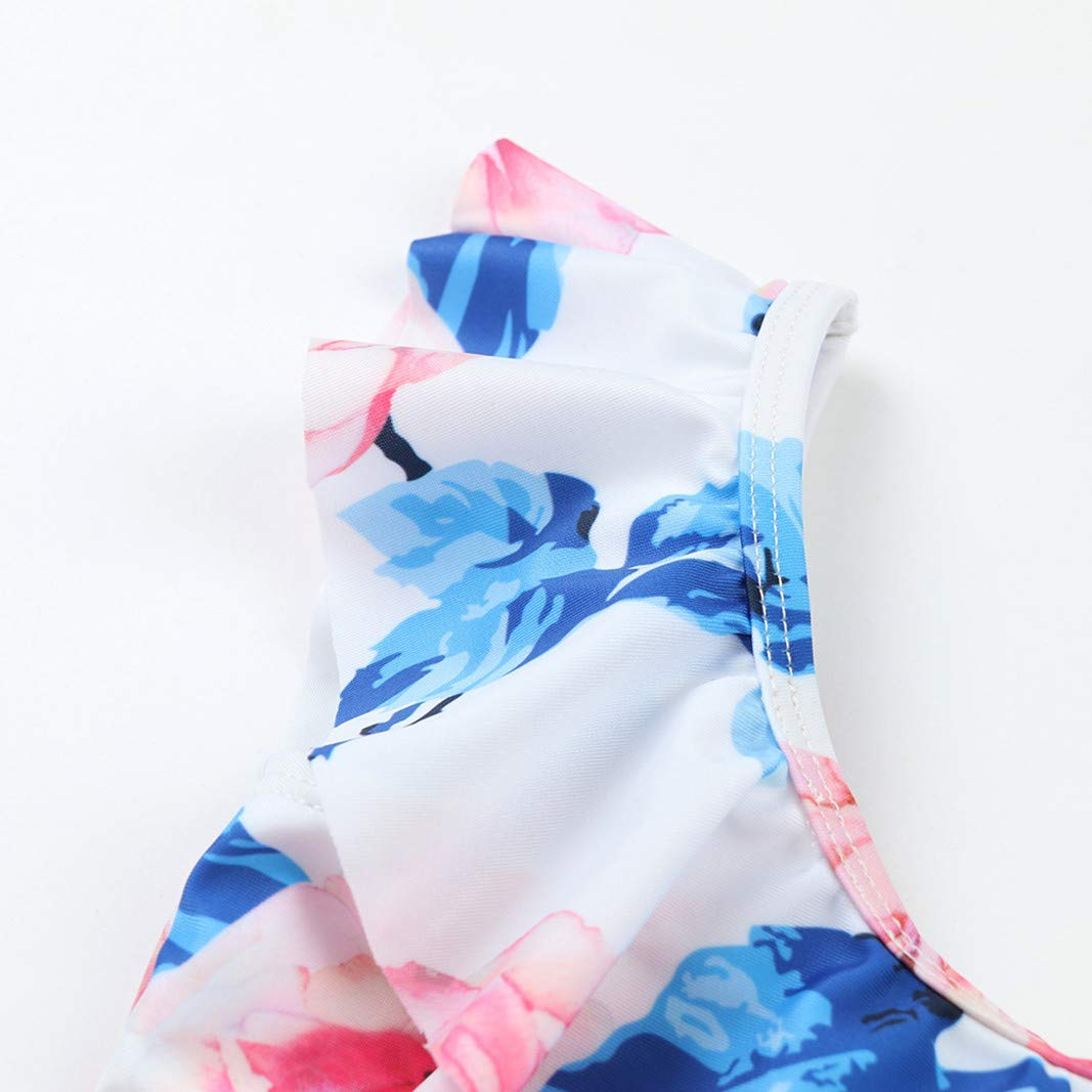 Girls One-Piece Swimsuit Princess Ruffle Floral Bathing Suits Beach Vacation Swimwear