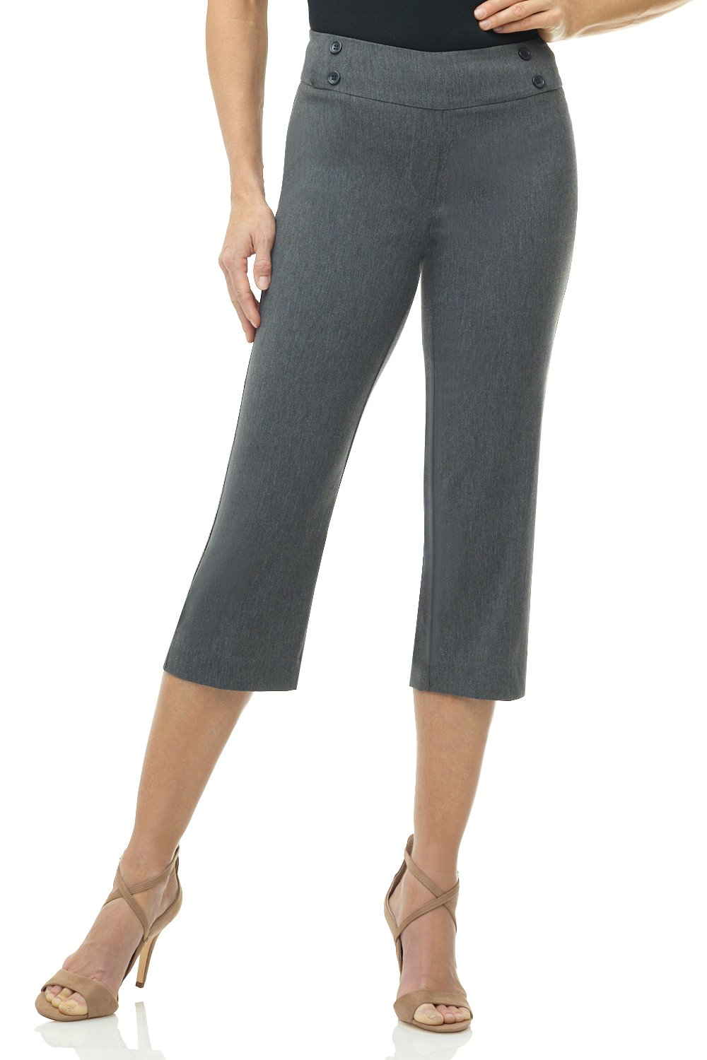 Rekucci Women's Ease in to Comfort Fit Capri with Button Detail (4,Charcoal)