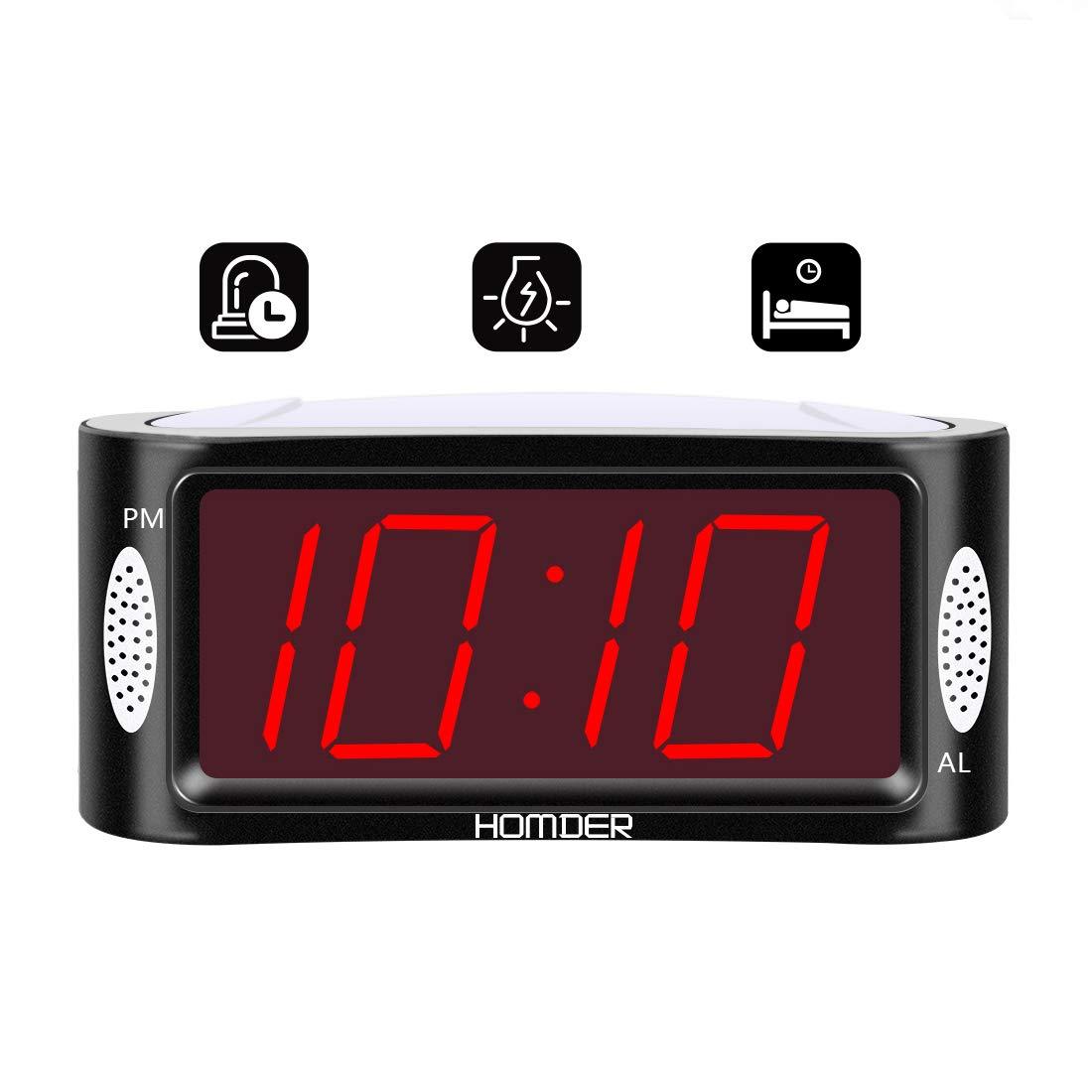 Homder Digital Alarm Clock Mains Powered with Night Light, Snooze & Full Range Brightness Dimming Function Desk and Shelf Clock