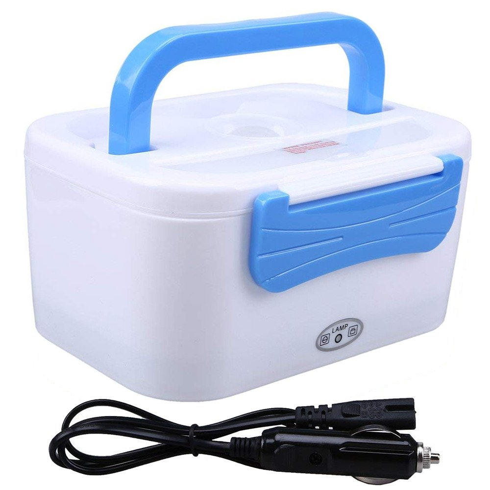 WHOSEE 12V Car Use Electric Heating Lunch Box Portable Bento Meal Heater Food Warmer 45W Blue