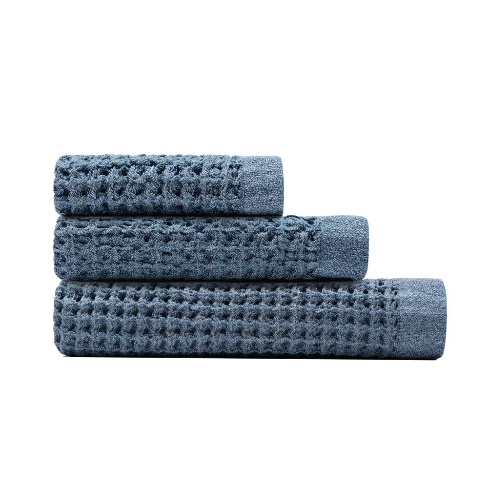 The Onsen Bath Towel Set - 100% Supima Cotton, Lightweight, Denim Blue