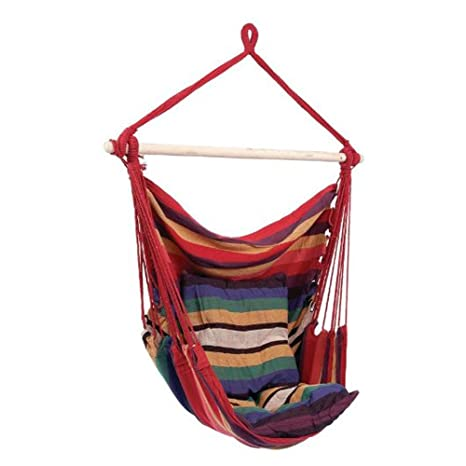 Flexzion Hammock Swing Chair   Hanging Rope Chair Portable Porch Seat With  Two Cushions For Bedroom