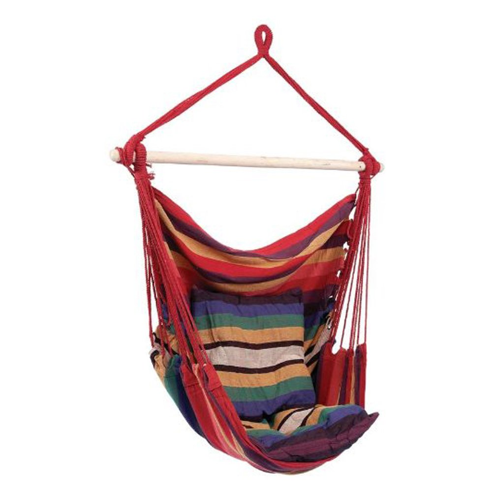 Flexzion Hammock Swing Chair - Hanging Rope Chair Portable Porch Seat with Two Cushions for Bedroom, Patio, Travel, Camping, Garden, Indoor, Outdoor Support Kids and Adults up to 265 Pounds (Red)