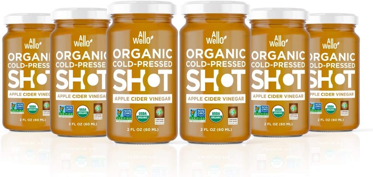 AllWellO Cold-Pressed Apple Cider Vinegar Shot, 60 mL, Natural USDA Organic Boost with Digestion Support, Improves Insulin Sensitivity, Anti-Aging Properties (6 Pack)