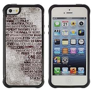 Suave TPU GEL Carcasa Funda Silicona Blando Estuche Caso de protección (para) Apple Iphone 5 / 5S / CECELL Phone case / / Love Heartbrake God Peace Passion Quote /