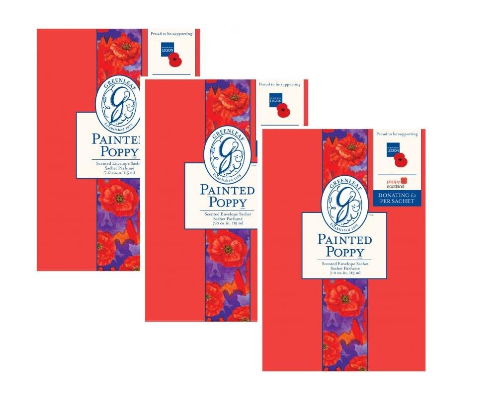 G Leaf Pack of 3 Limited Edition Poppy Remembrance Large Scented Fragrance Sachet Greenleaf Bridgewater