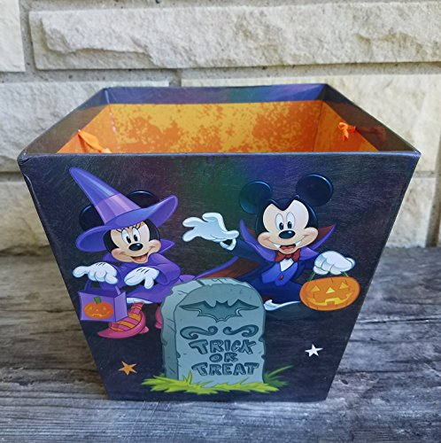 Mickey Vampire, Minnie Witch, Donald and Pluto Heavy Duty Holographic Paper Bucket w/ Handle