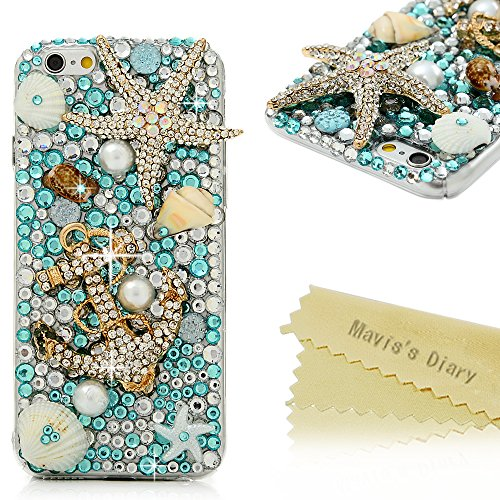 iPhone 6S Case,iPhone 6 Case (4.7 Inch) – Mavis's Diary 3D Handmade Blue Ocean Series Bling Diamonds Crystal Golden Anchor Starfish Shells Design [Ful…