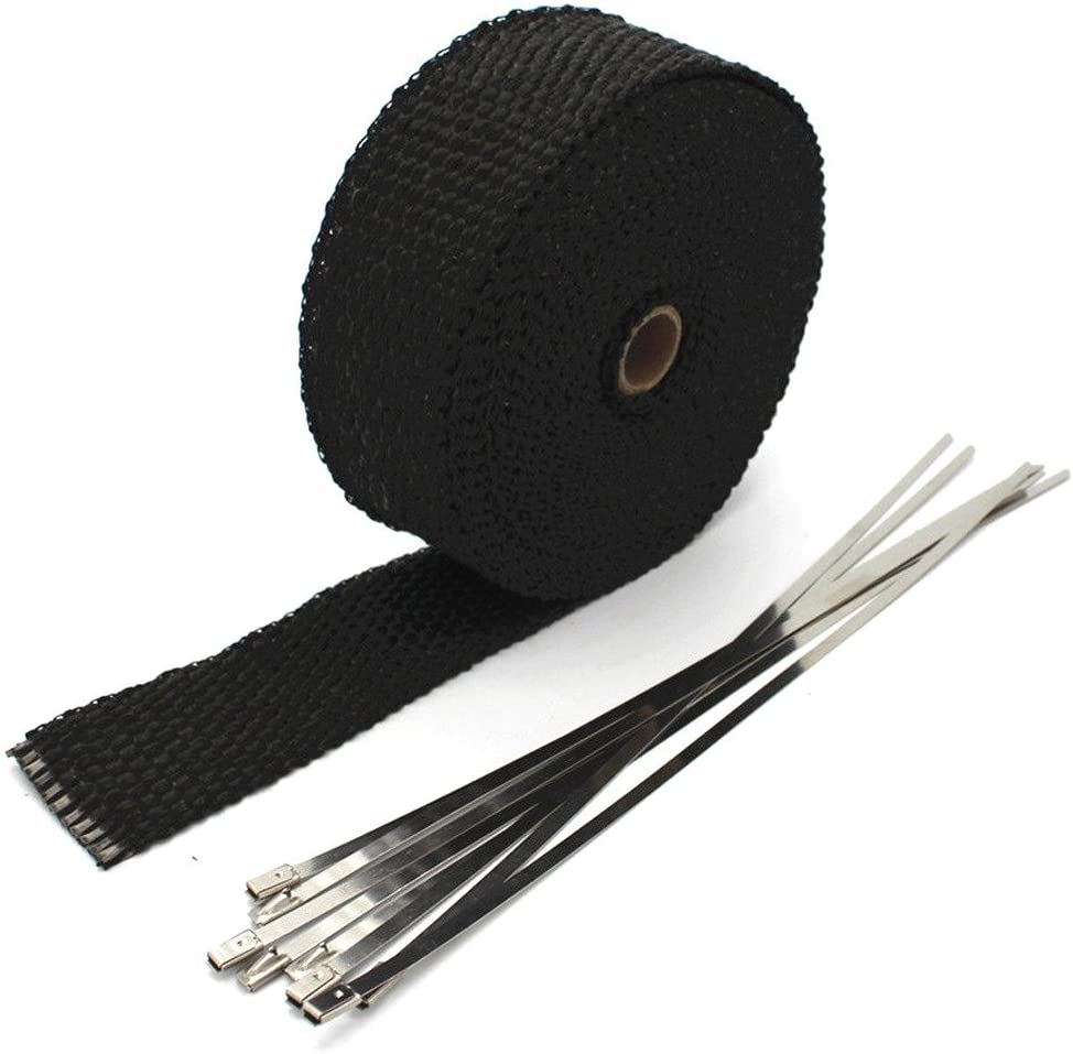/Colector de escape Wrap Banda Exhaust insulating Tape 6/corbatas Kit mintice 5/cm x 5/m fibra de vidrio Roll Negro Racing Header Tubo de escape/