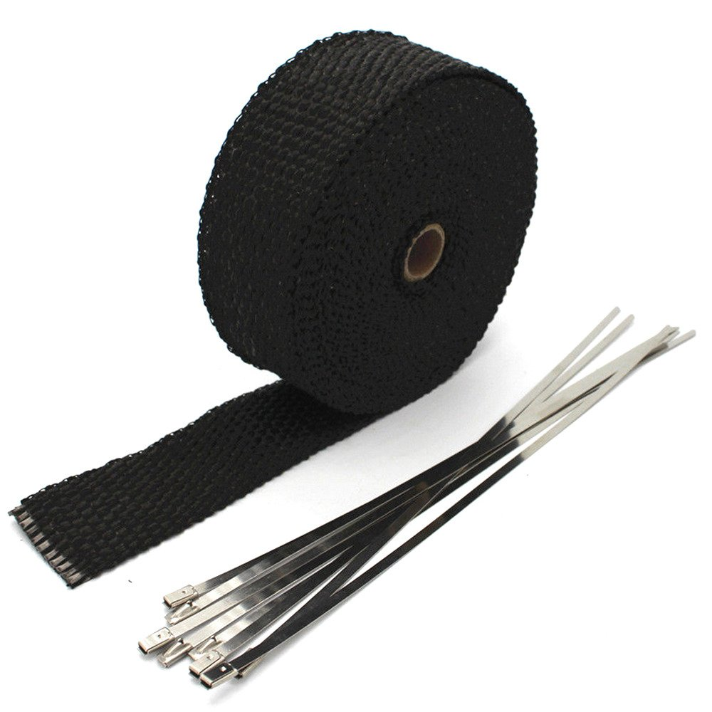 Etopars 5CM X 10M Fiberglass Roll Black Racing Exhaust Heat Header Pipe Wrap Tape Sleeve 6 Ties Car