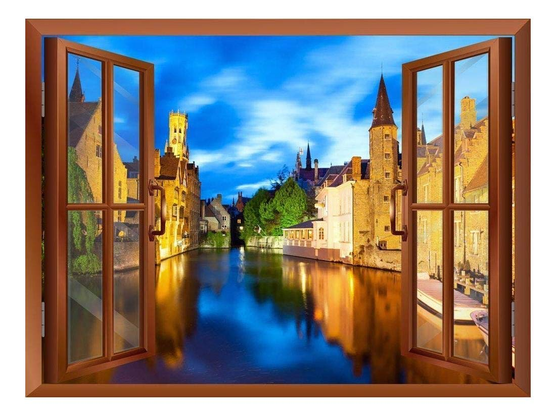 """wall26 Beautiful Scenery/Landscape Venice,Italy View from Inside a Window Removable Wall Sticker/Wall Mural - 24""""x32"""""""