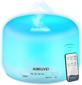 AIMIUVEI 500ml Humidificador Aromaterapia Ultrasonico con Mando a Distancia, Difusor de Aceites Esenciales Aromaterapia Ultra Silencioso, Purificador de Aire y 7 Luces LED Humidificador para Bebes etc: Amazon.es: Salud y cuidado personal