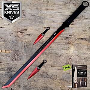 "27"" RED Tactical Machete Full Tang Katana NINJA Carbon Steel Razor Sharp Blade Sword With 2PC Knife + Free eBook by SURVIVAL STEEL"