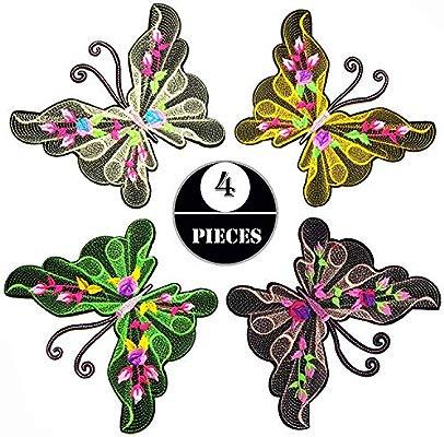 Großer Patch Schmetterling mit Pailletten Insekt Aufnäher DIY Basteln neu