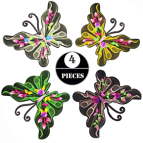 Iron on Patches 4 PCS Big Butterfly Sew on Patches Stickers Embroidery Applique Woohome Appliques Stickers for Sewing or Iron-on for Curtain, Clothes, Bags