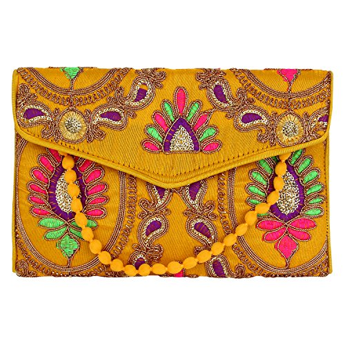 (Brazeal Studio Women's Embroidered Fabric Ethnic Clutch Yellow)