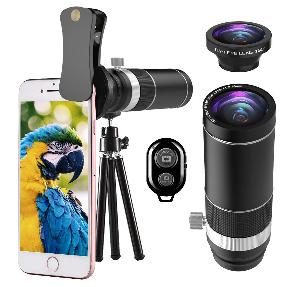 Cell Phone Telephoto Lens, UMTELE iPhone Camera Lens Kit, 20X Telephoto Lens with 180° Fisheye Lens + Mini Tripod for iPhone 8/7/6s/6Plus/5, Samsung Galaxy, Android and Most Smartphones