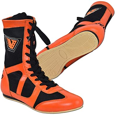VELO Leather Boxing Shoes Sports Training Unisex Mesh Genuine Boot Light Weight