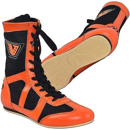 Velo - Zapatillas de Boxeo de Cuero para Hombre Negro Naranja: Amazon.es: Zapatos y complementos