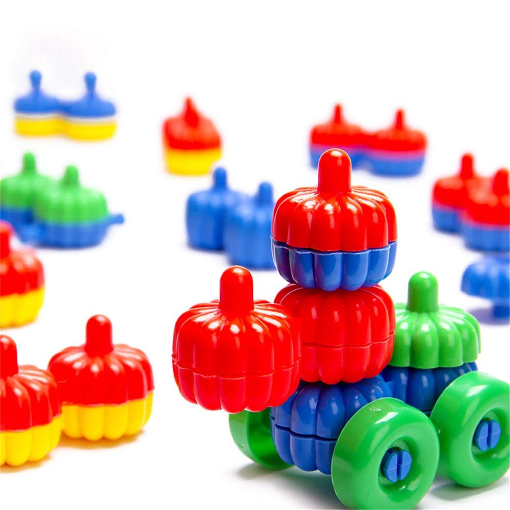 ZnMig Children 3-12 Years Old Plastic 80 Pieces Fruit Car Building Blocks Puzzle Disassembly Children's Toys Early Education Puzzle Building Blocks Toys (Color : Multi-Colored, Size : One Size)