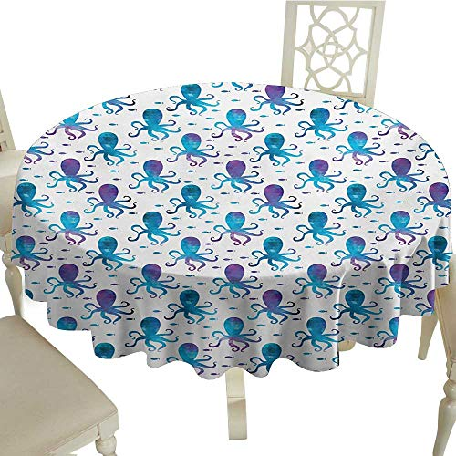(striped round tablecloth 54 Inch Octopus,Mosaic Pattern Marine Animal Silhouettes Abstract Nautical Polygonal Design,Blue Purple White Great for,family,outdoors,restaurant,Party,Wedding,Coffee Bar,tra)