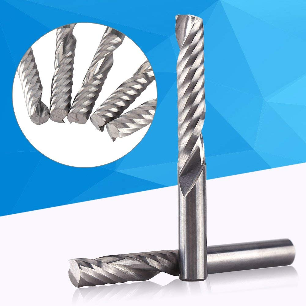 Hatime Tungsten Carbide End Mill Single Flute Spiral CNC Milling Router Bits Acrylic PVC MDF Density Board 6mmx32mm 5pcs