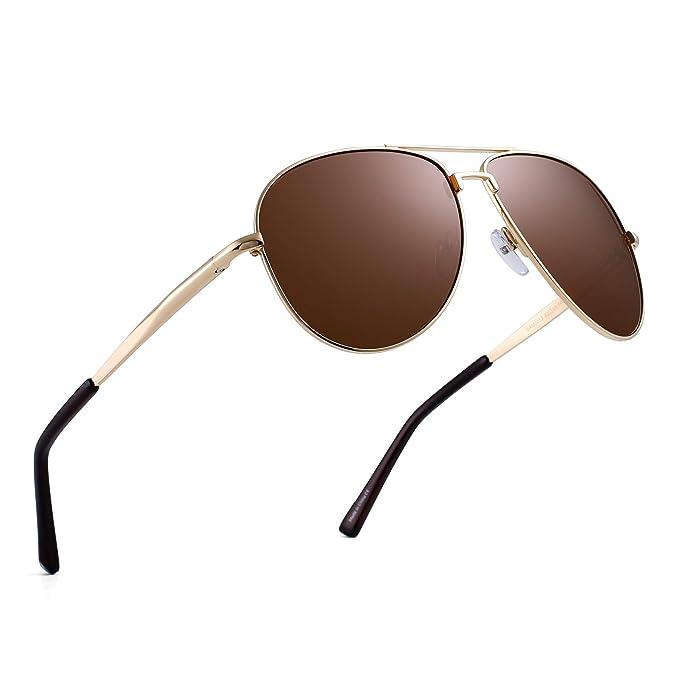 JIM HALO Polarizadas Aviador Gafas de Sol Retro de Metal Conducir Piloto Anteojos Hombre Mujer(